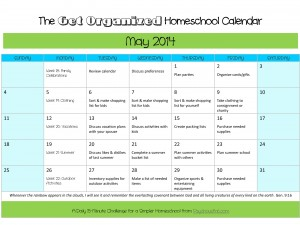 May 2014 Get Organized Homeschool Calendar
